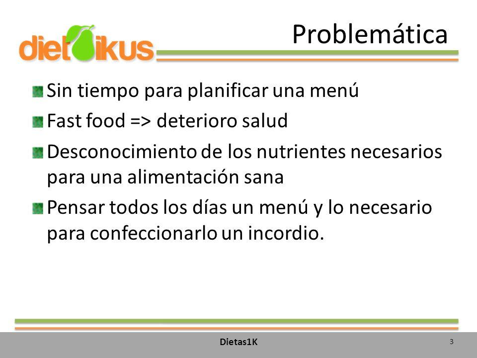Problemática Sin tiempo para planificar una menú Fast food => deterioro salud Desconocimiento de los nutrientes necesarios para una alimentación sana