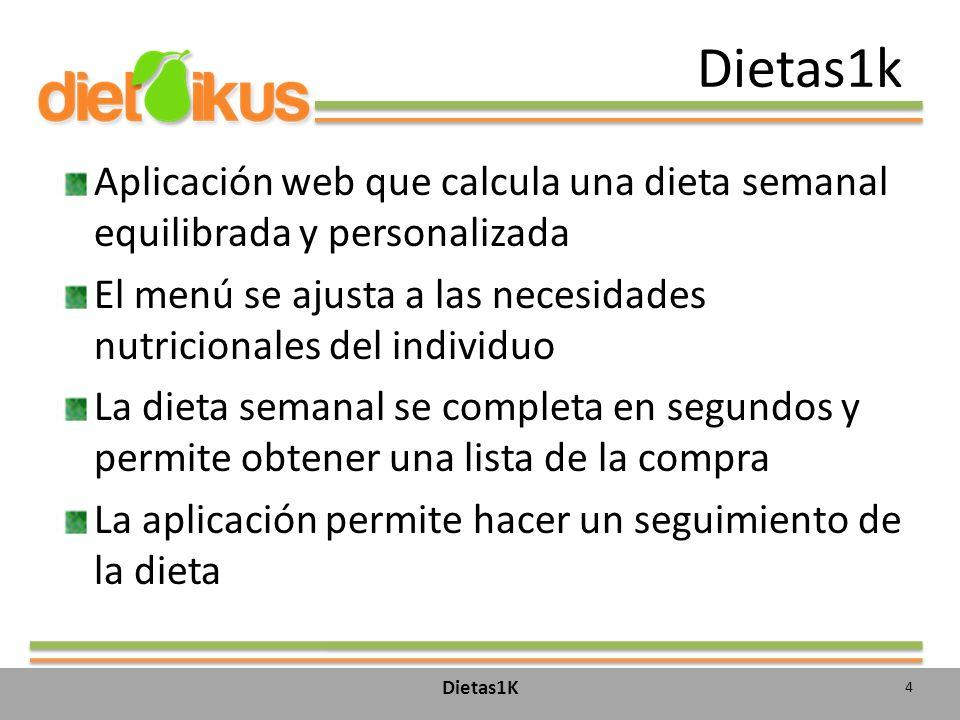 Dietas1k Aplicación web que calcula una dieta semanal equilibrada y personalizada El menú se ajusta a las necesidades nutricionales del individuo La d