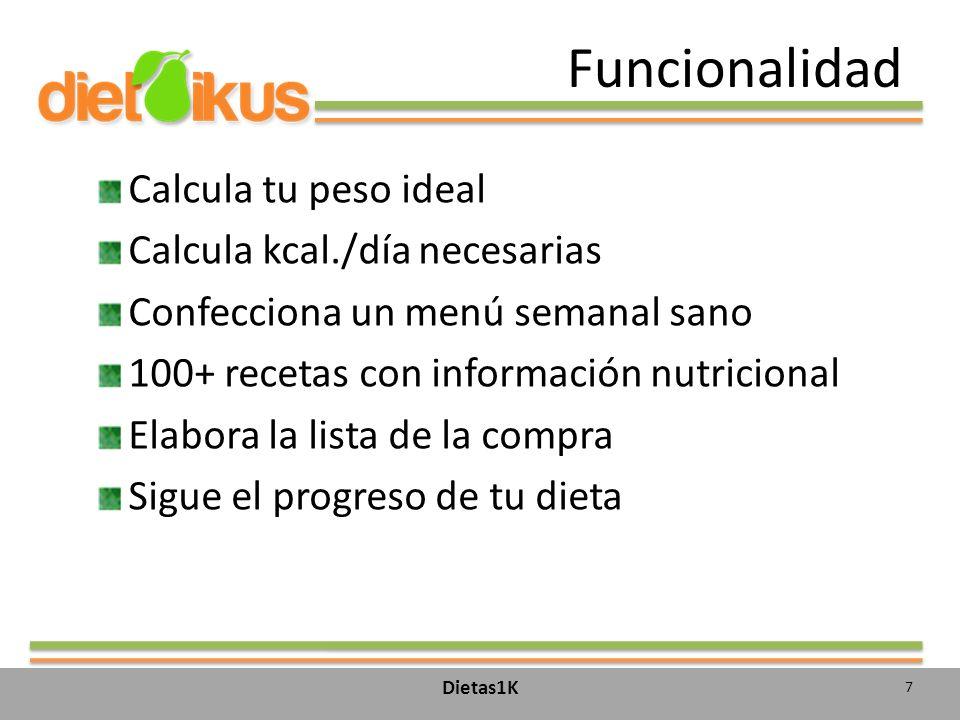 Funcionalidad Calcula tu peso ideal Calcula kcal./día necesarias Confecciona un menú semanal sano 100+ recetas con información nutricional Elabora la