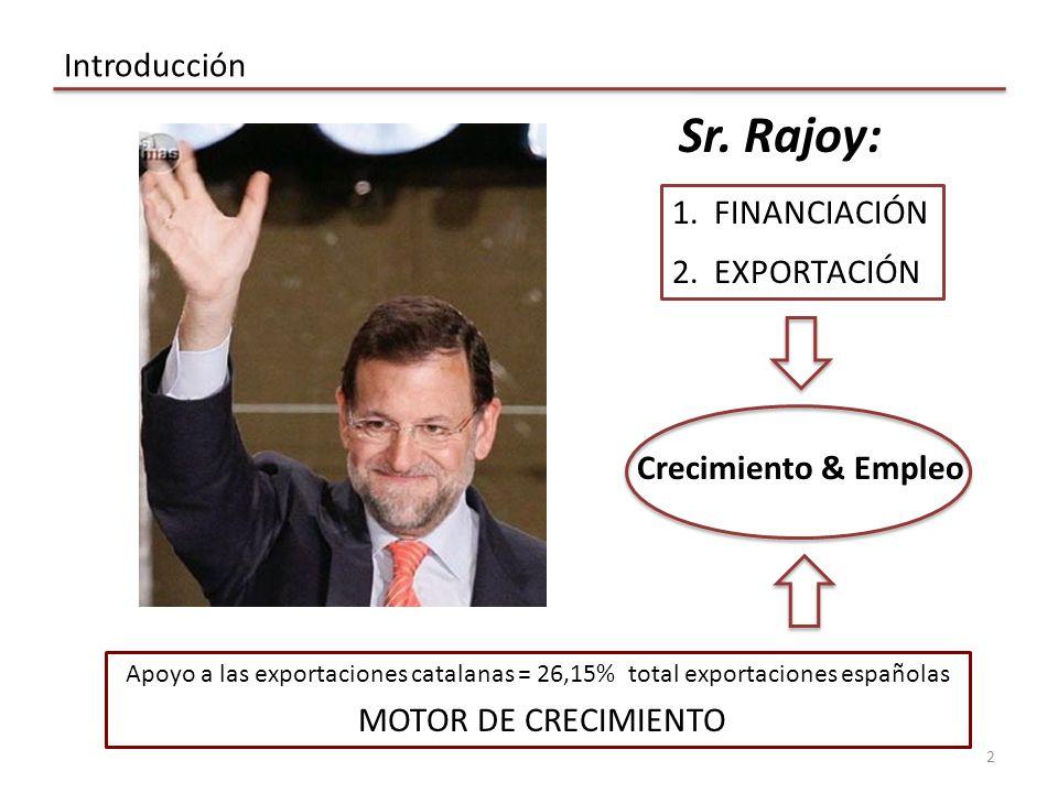 Sr.Rajoy: Introducción 2 Crecimiento & Empleo 1. FINANCIACIÓN 2.
