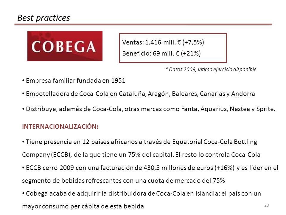 20 Best practices Ventas: 1.416 mill.(+7,5%) Beneficio: 69 mill.