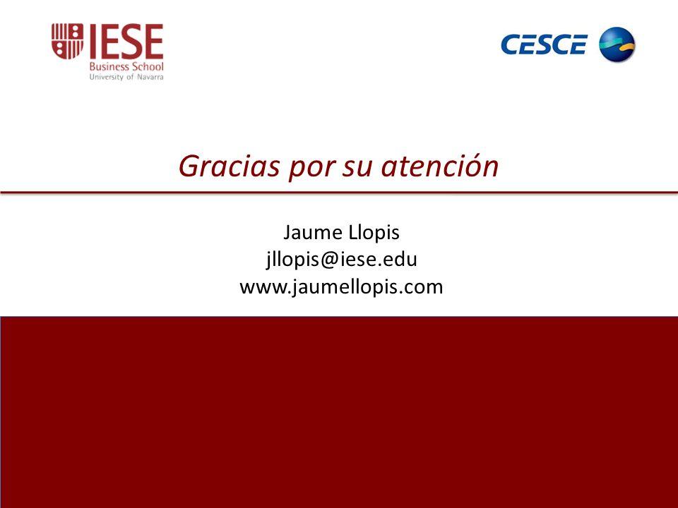 30 Gracias por su atención Jaume Llopis jllopis@iese.edu www.jaumellopis.com Gracias por su atención