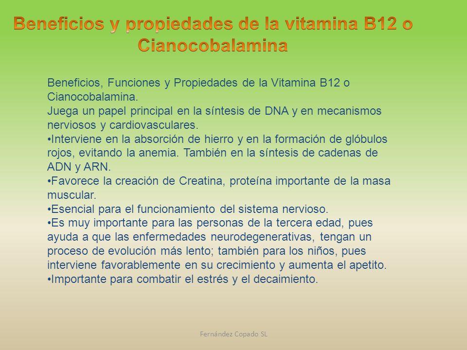 Beneficios, Funciones y Propiedades de la Vitamina B12 o Cianocobalamina. Juega un papel principal en la síntesis de DNA y en mecanismos nerviosos y c