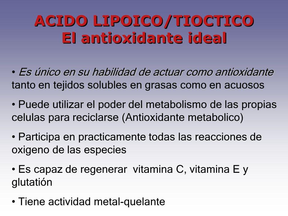 ACIDO LIPOICO/TIOCTICO El antioxidante ideal Es único en su habilidad de actuar como antioxidante Es único en su habilidad de actuar como antioxidante