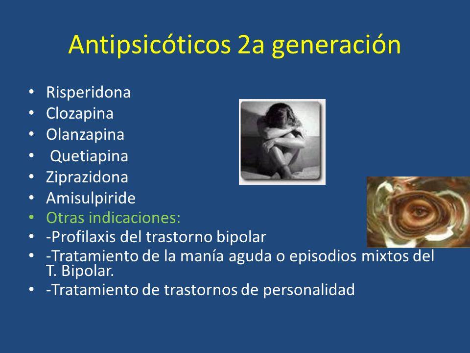 Antipsicóticos 2a generación Risperidona Clozapina Olanzapina Quetiapina Ziprazidona Amisulpiride Otras indicaciones: -Profilaxis del trastorno bipola