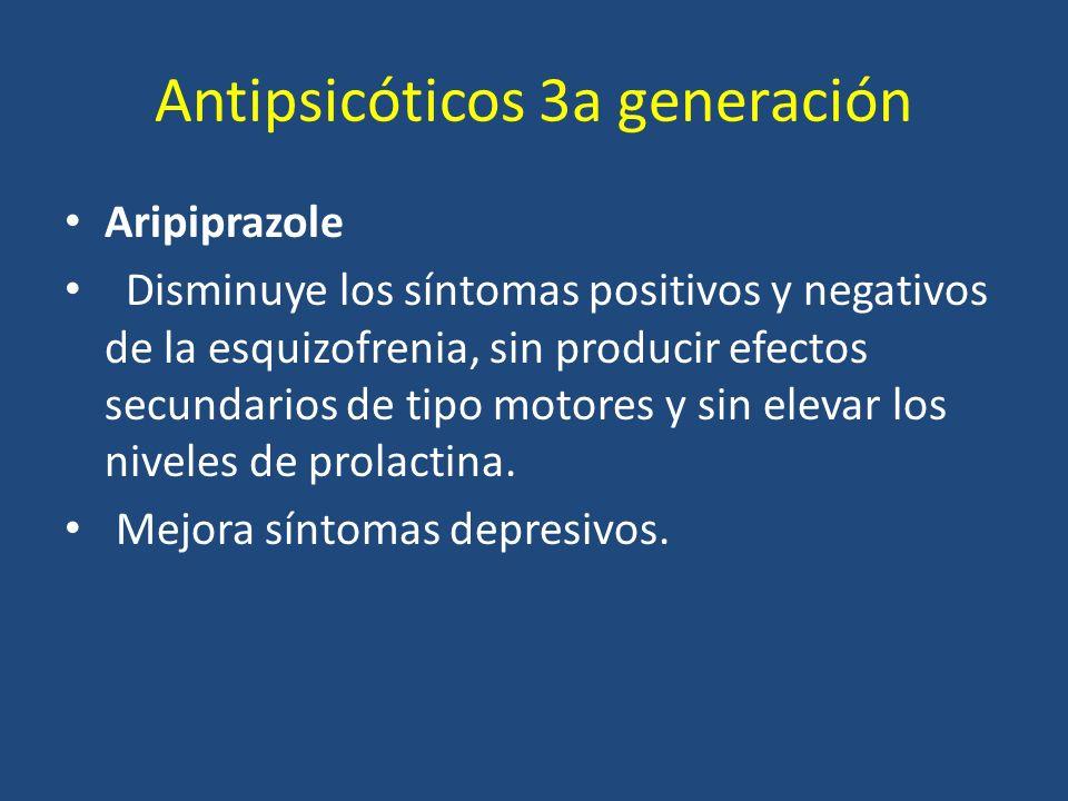 Antipsicóticos 3a generación Aripiprazole Disminuye los síntomas positivos y negativos de la esquizofrenia, sin producir efectos secundarios de tipo m