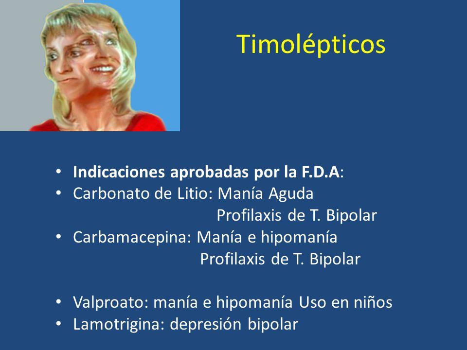 Timolépticos Indicaciones aprobadas por la F.D.A: Carbonato de Litio: Manía Aguda Profilaxis de T. Bipolar Carbamacepina: Manía e hipomanía Profilaxis