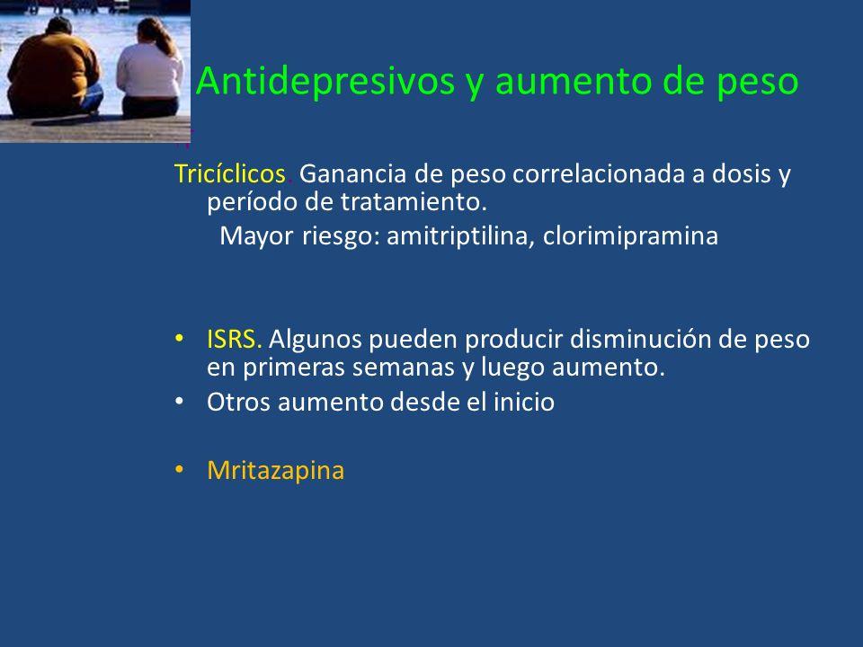 Antidepresivos y aumento de peso T Tricíclicos. Ganancia de peso correlacionada a dosis y período de tratamiento. Mayor riesgo: amitriptilina, clorimi