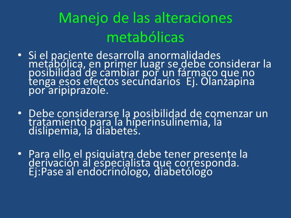 Manejo de las alteraciones metabólicas Si el paciente desarrolla anormalidades metabólica, en primer luagr se debe considerar la posibilidad de cambia
