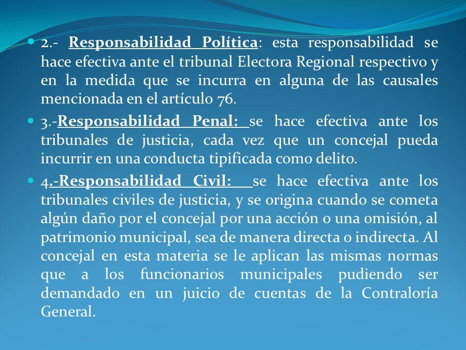 2.- Responsabilidad Política: esta responsabilidad se hace efectiva ante el tribunal Electora Regional respectivo y en la medida que se incurra en alg