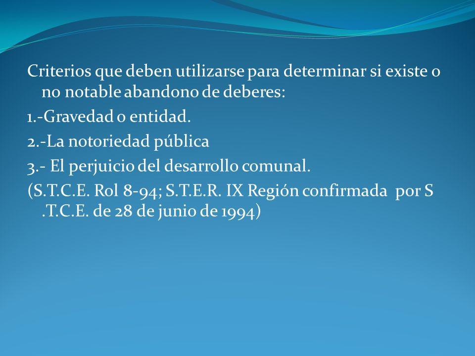 Criterios que deben utilizarse para determinar si existe o no notable abandono de deberes: 1.-Gravedad o entidad. 2.-La notoriedad pública 3.- El perj