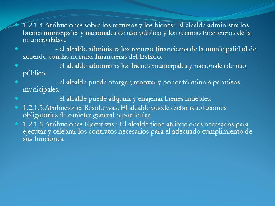 1.2.1.4.Atribuciones sobre los recursos y los bienes: El alcalde administra los bienes municipales y nacionales de uso público y los recurso financier