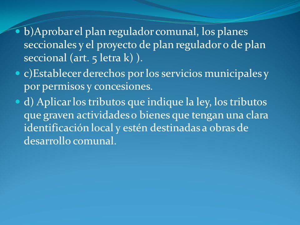 b)Aprobar el plan regulador comunal, los planes seccionales y el proyecto de plan regulador o de plan seccional (art. 5 letra k) ). c)Establecer derec