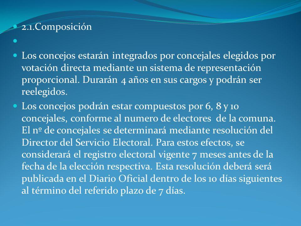 2.1.Composición Los concejos estarán integrados por concejales elegidos por votación directa mediante un sistema de representación proporcional. Durar