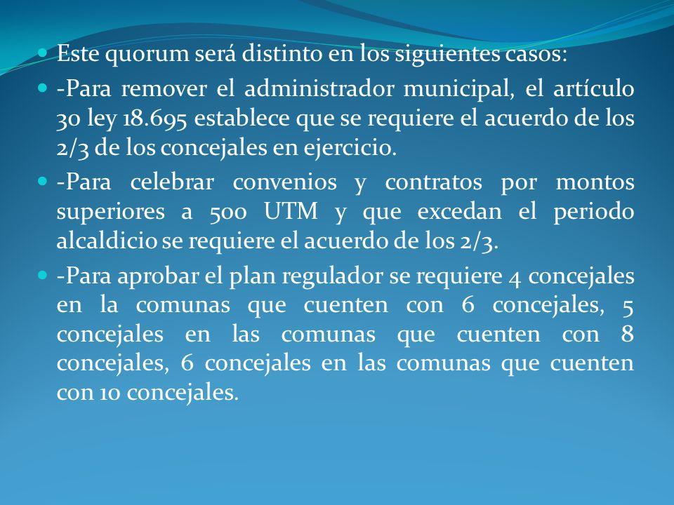 Este quorum será distinto en los siguientes casos: -Para remover el administrador municipal, el artículo 30 ley 18.695 establece que se requiere el ac