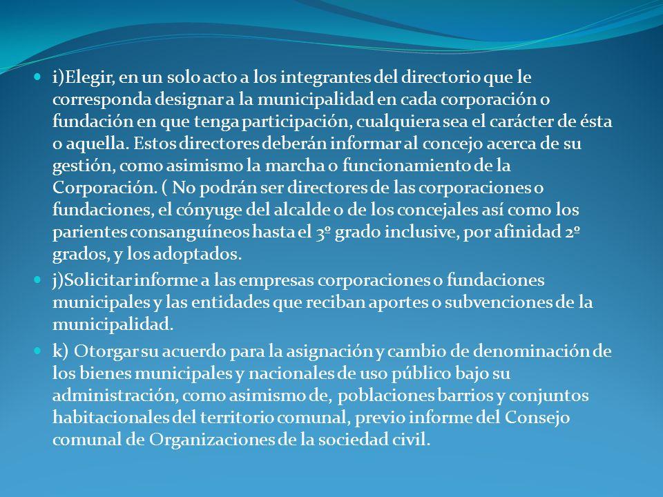 i)Elegir, en un solo acto a los integrantes del directorio que le corresponda designar a la municipalidad en cada corporación o fundación en que tenga