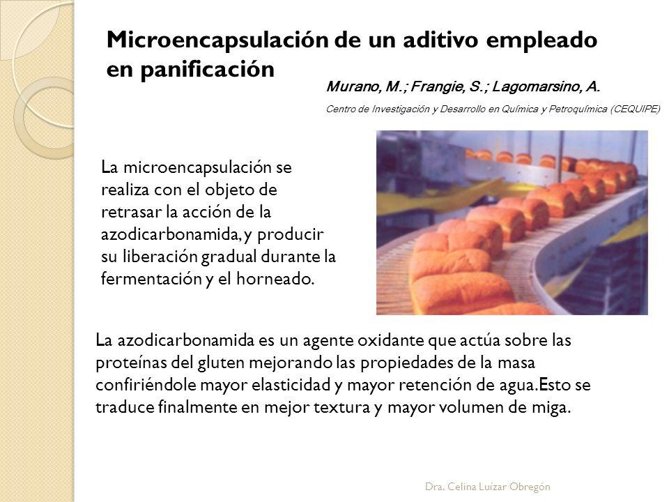 La microencapsulación se realiza con el objeto de retrasar la acción de la azodicarbonamida, y producir su liberación gradual durante la fermentación