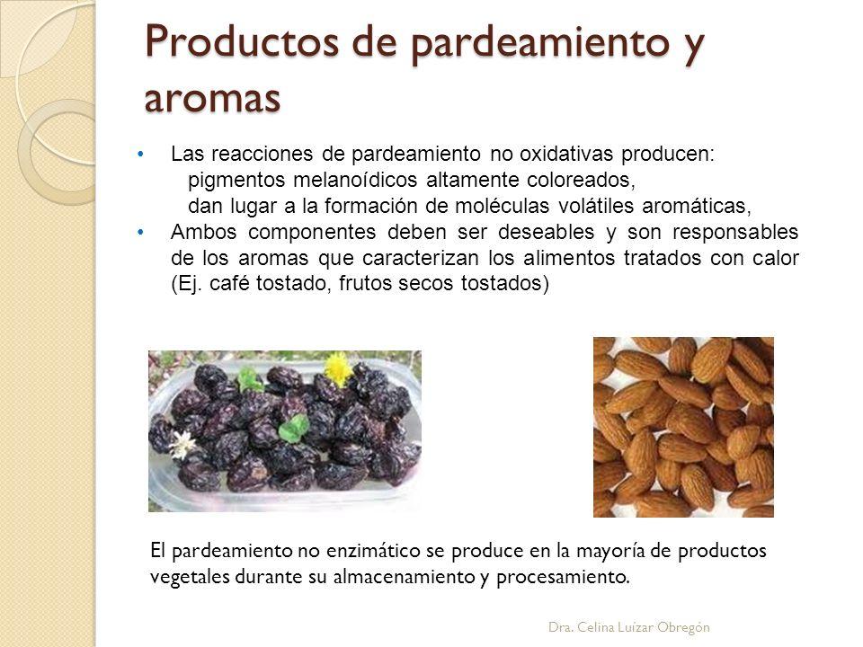 Productos de pardeamiento y aromas Las reacciones de pardeamiento no oxidativas producen: pigmentos melanoídicos altamente coloreados, dan lugar a la