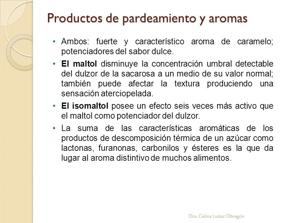 Productos de pardeamiento y aromas Dra. Celina Luízar Obregón Ambos: fuerte y característico aroma de caramelo; potenciadores del sabor dulce. El malt
