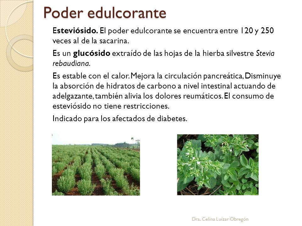 Poder edulcorante Dra. Celina Luízar Obregón Esteviósido. El poder edulcorante se encuentra entre 120 y 250 veces al de la sacarina. Es un glucósido e