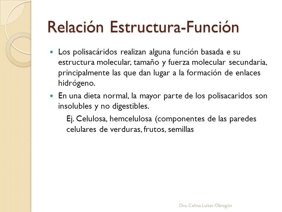 Relación Estructura-Función Los polisacáridos realizan alguna función basada e su estructura molecular, tamaño y fuerza molecular secundaria, principa