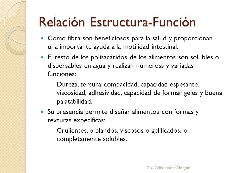 Relación Estructura-Función Como fibra son beneficiosos para la salud y proporcionan una importante ayuda a la motilidad intestinal. El resto de los p