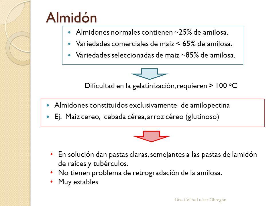 Almidón Almidones normales contienen ~25% de amilosa. Variedades comerciales de maiz < 65% de amilosa. Variedades seleccionadas de maiz ~85% de amilos