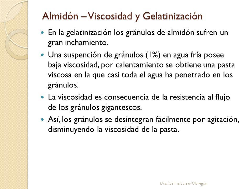 Almidón – Viscosidad y Gelatinización Dra. Celina Luízar Obregón En la gelatinización los gránulos de almidón sufren un gran inchamiento. Una suspenci