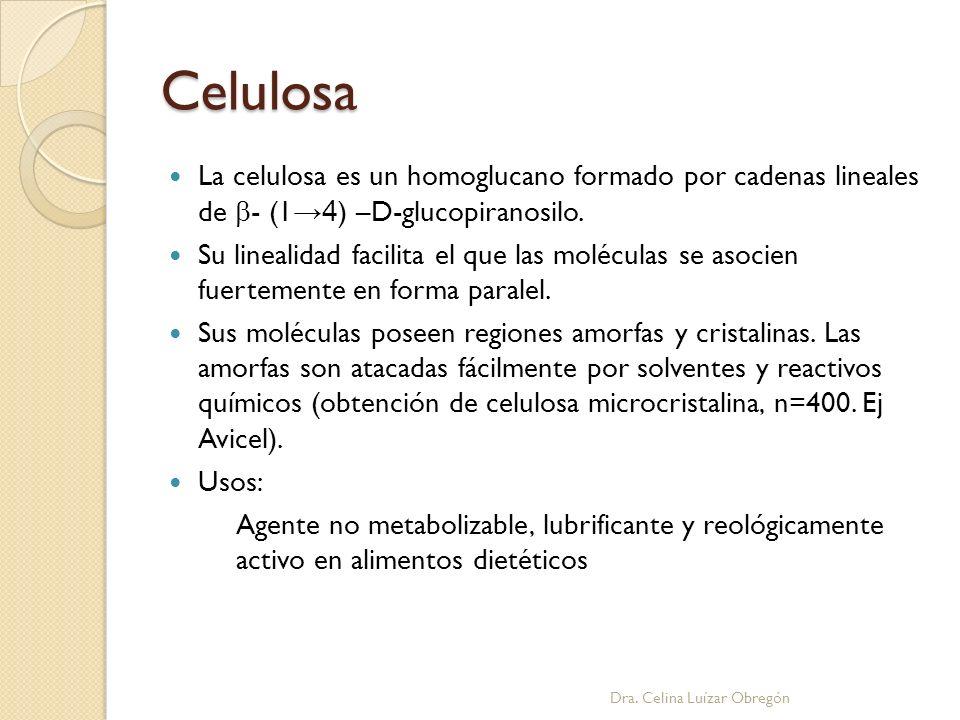 Celulosa La celulosa es un homoglucano formado por cadenas lineales de - (1 4 ) –D-glucopiranosilo. Su linealidad facilita el que las moléculas se aso