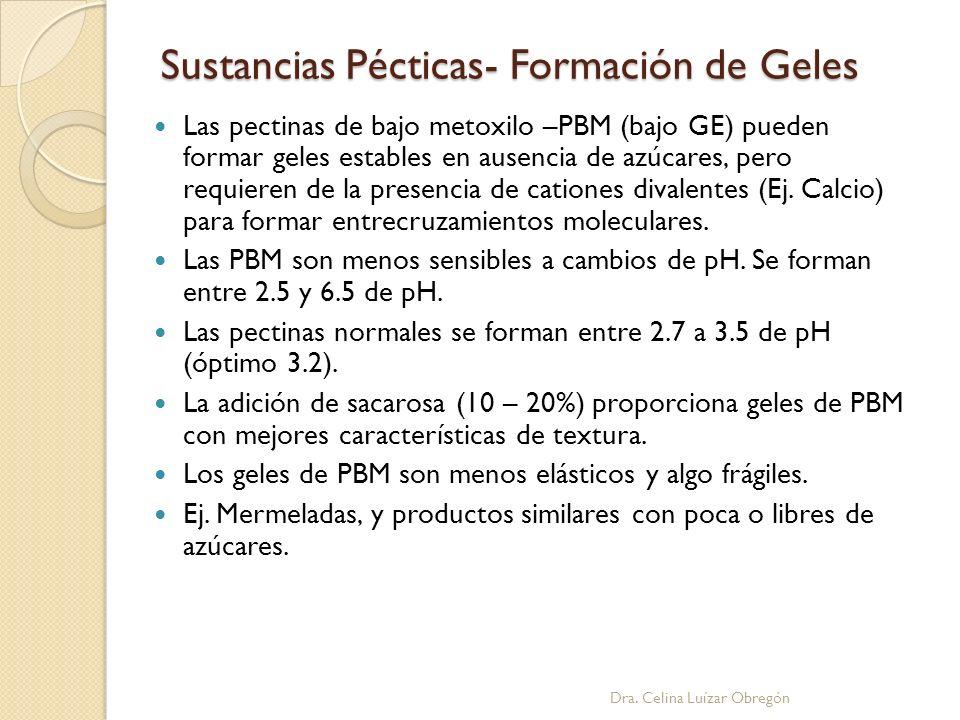 Sustancias Pécticas- Formación de Geles Las pectinas de bajo metoxilo –PBM (bajo GE) pueden formar geles estables en ausencia de azúcares, pero requie