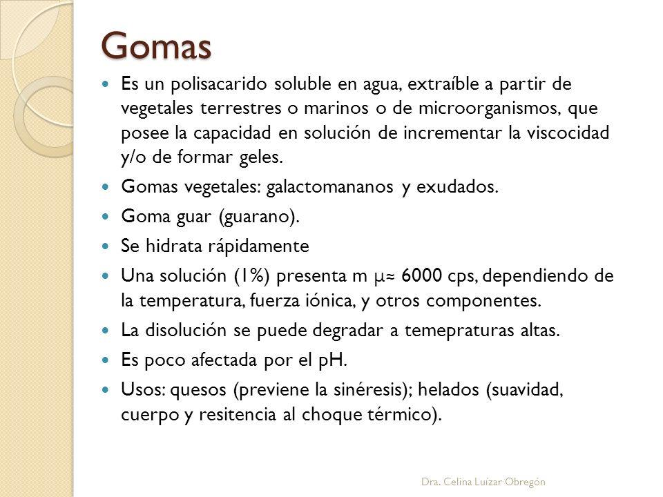Gomas Es un polisacarido soluble en agua, extraíble a partir de vegetales terrestres o marinos o de microorganismos, que posee la capacidad en solució