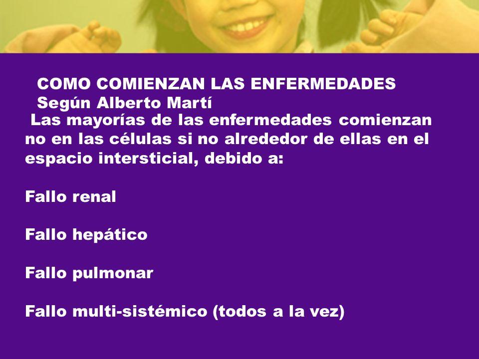 COMO COMIENZAN LAS ENFERMEDADES Según Alberto Martí Las mayorías de las enfermedades comienzan no en las células si no alrededor de ellas en el espaci