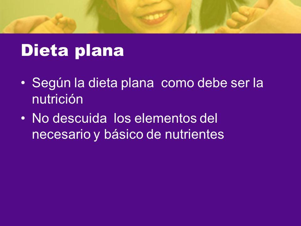 Dieta plana Según la dieta plana como debe ser la nutrición No descuida los elementos del necesario y básico de nutrientes