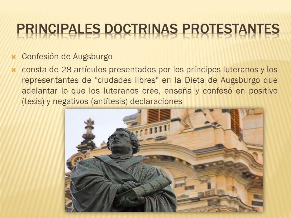 Confesión de Augsburgo consta de 28 artículos presentados por los príncipes luteranos y los representantes de