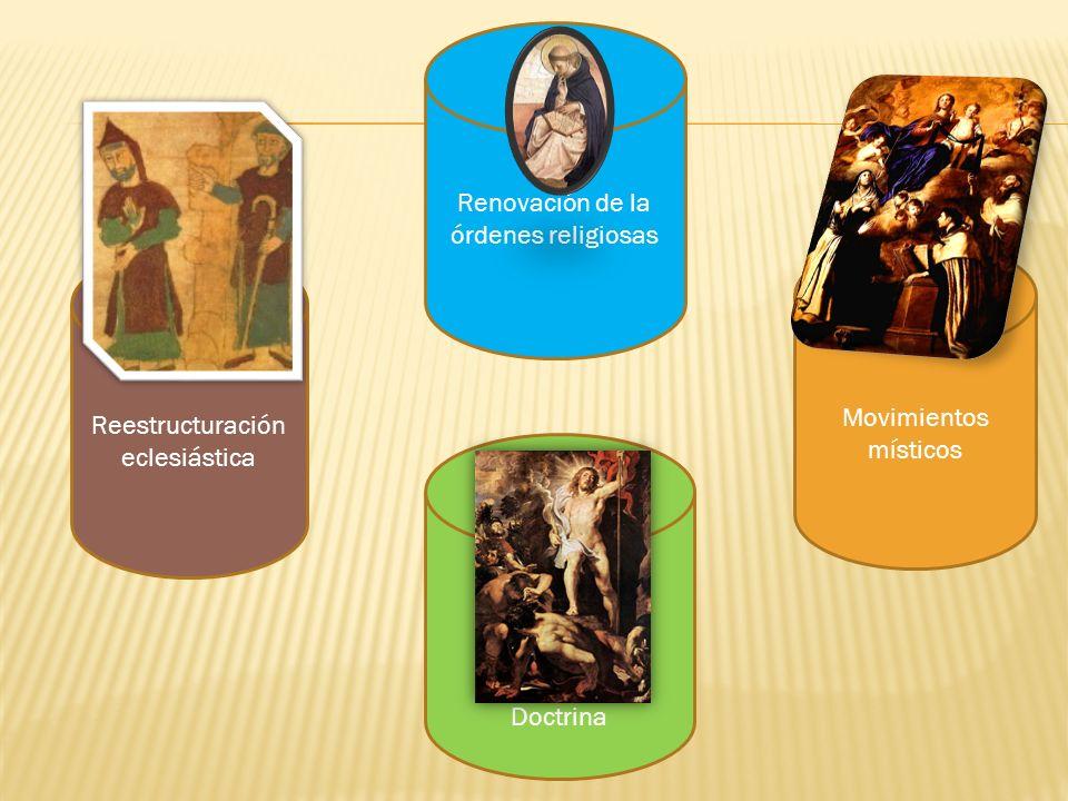 Reestructuración eclesiástica Renovación de la órdenes religiosas Doctrina Movimientos místicos