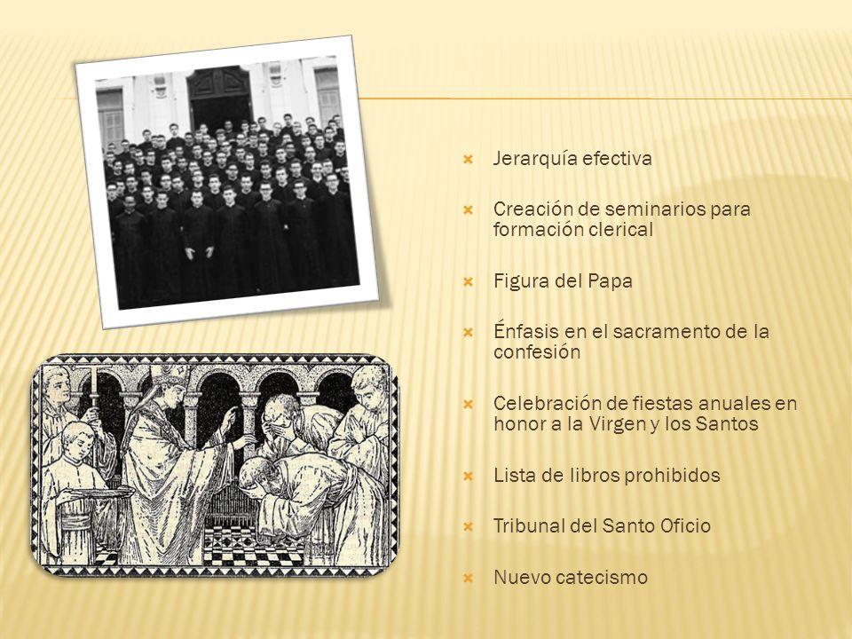 Jerarquía efectiva Creación de seminarios para formación clerical Figura del Papa Énfasis en el sacramento de la confesión Celebración de fiestas anua