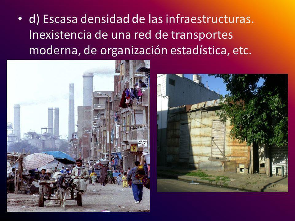 d) Escasa densidad de las infraestructuras. Inexistencia de una red de transportes moderna, de organización estadística, etc.