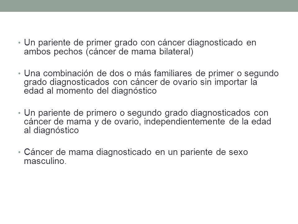 Un pariente de primer grado con cáncer diagnosticado en ambos pechos (cáncer de mama bilateral) Una combinación de dos o más familiares de primer o se