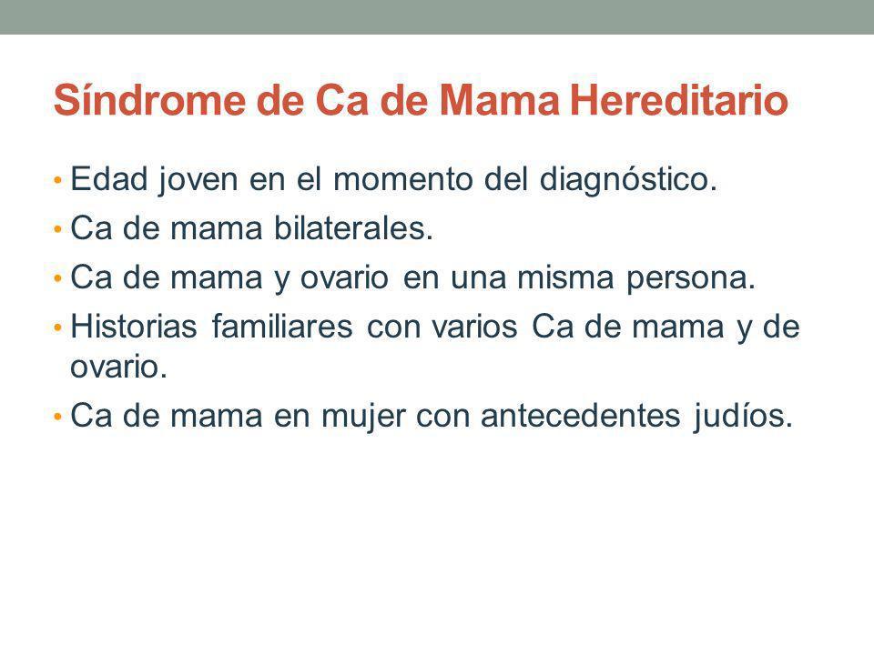 Síndrome de Ca de Mama Hereditario Edad joven en el momento del diagnóstico. Ca de mama bilaterales. Ca de mama y ovario en una misma persona. Histori