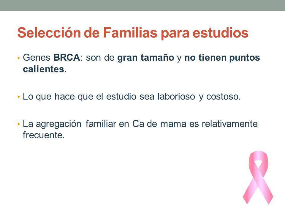 Selección de Familias para estudios Genes BRCA: son de gran tamaño y no tienen puntos calientes. Lo que hace que el estudio sea laborioso y costoso. L