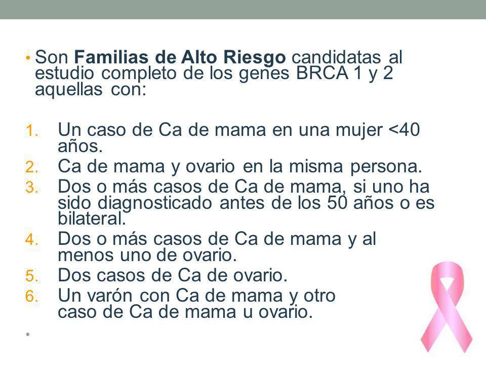 Son Familias de Alto Riesgo candidatas al estudio completo de los genes BRCA 1 y 2 aquellas con: 1. Un caso de Ca de mama en una mujer <40 años. 2. Ca