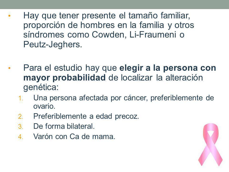 Hay que tener presente el tamaño familiar, proporción de hombres en la familia y otros síndromes como Cowden, Li-Fraumeni o Peutz-Jeghers. Para el est