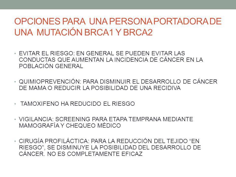 OPCIONES PARA UNA PERSONA PORTADORA DE UNA MUTACIÓN BRCA1 Y BRCA2 EVITAR EL RIESGO: EN GENERAL SE PUEDEN EVITAR LAS CONDUCTAS QUE AUMENTAN LA INCIDENC