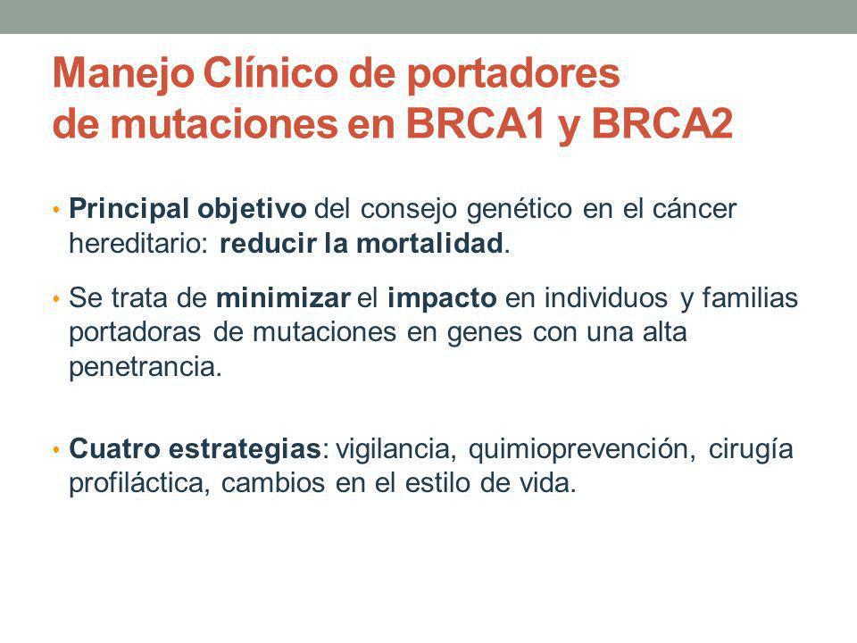 Manejo Clínico de portadores de mutaciones en BRCA1 y BRCA2 Principal objetivo del consejo genético en el cáncer hereditario: reducir la mortalidad. S
