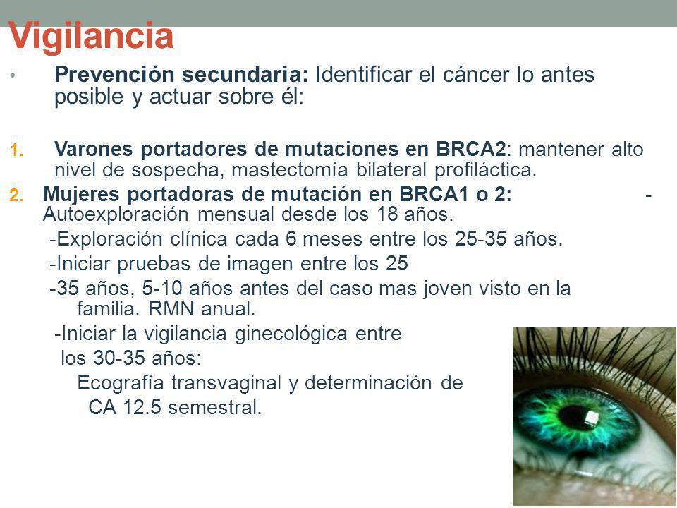 Vigilancia Prevención secundaria: Identificar el cáncer lo antes posible y actuar sobre él: 1. Varones portadores de mutaciones en BRCA2: mantener alt