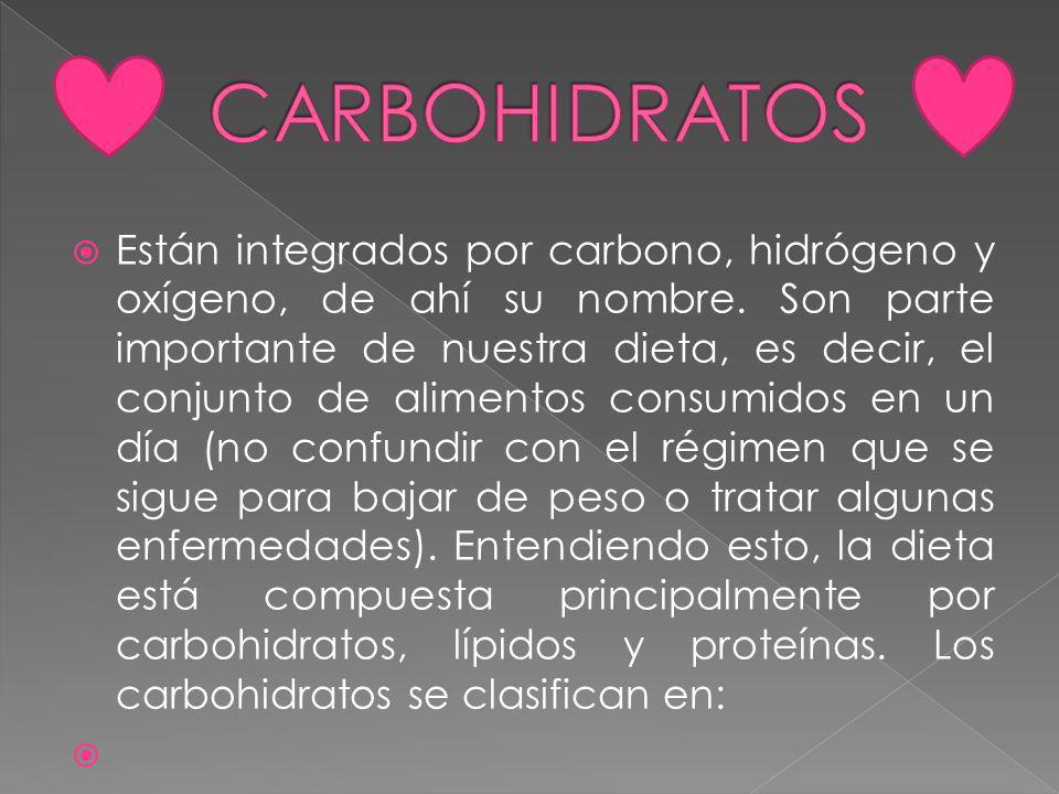 Están integrados por carbono, hidrógeno y oxígeno, de ahí su nombre.