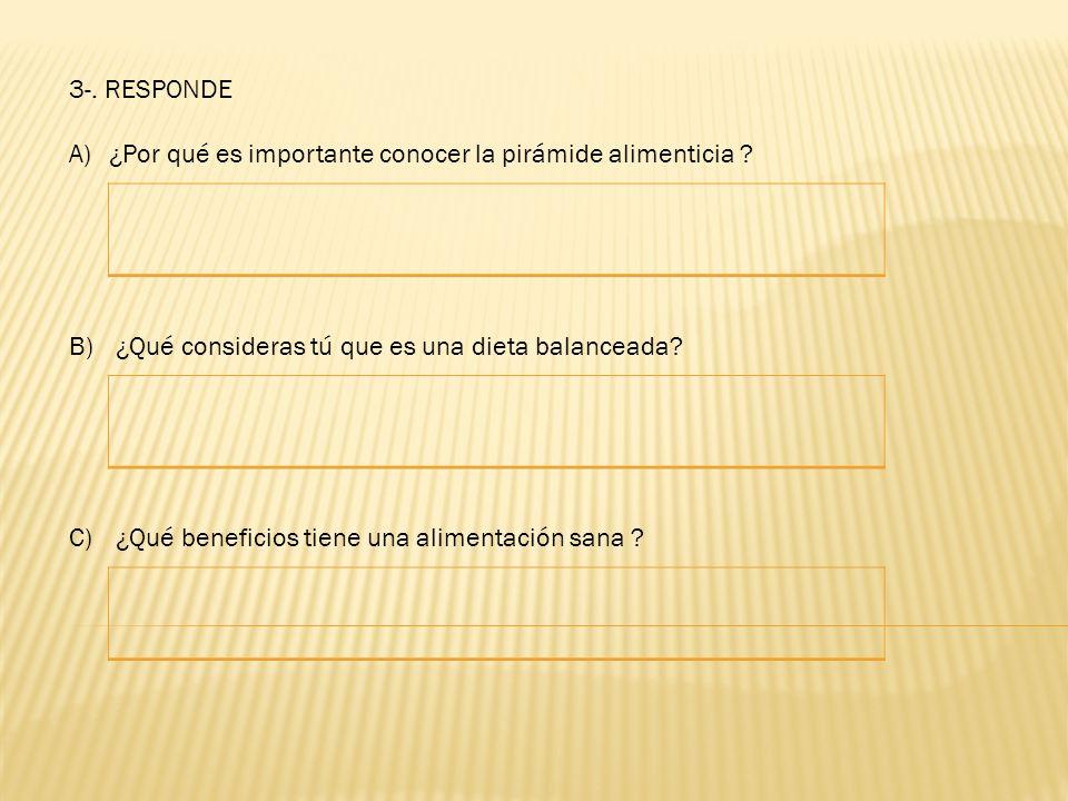 3-. RESPONDE A)¿Por qué es importante conocer la pirámide alimenticia ? B) ¿Qué consideras tú que es una dieta balanceada? C) ¿Qué beneficios tiene un