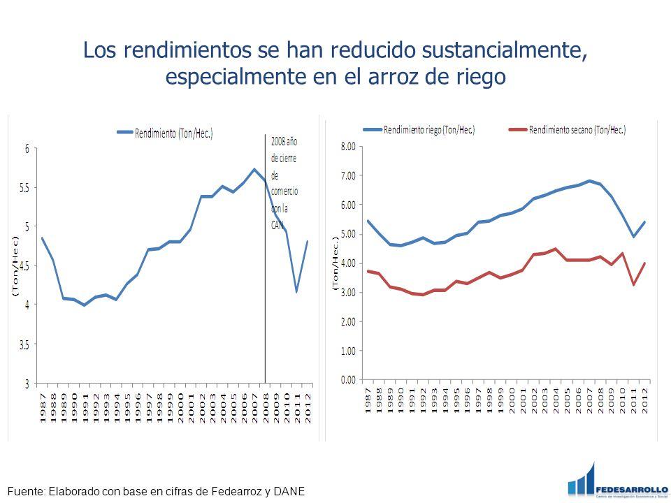 Los rendimientos se han reducido sustancialmente, especialmente en el arroz de riego Fuente: Elaborado con base en cifras de Fedearroz y DANE