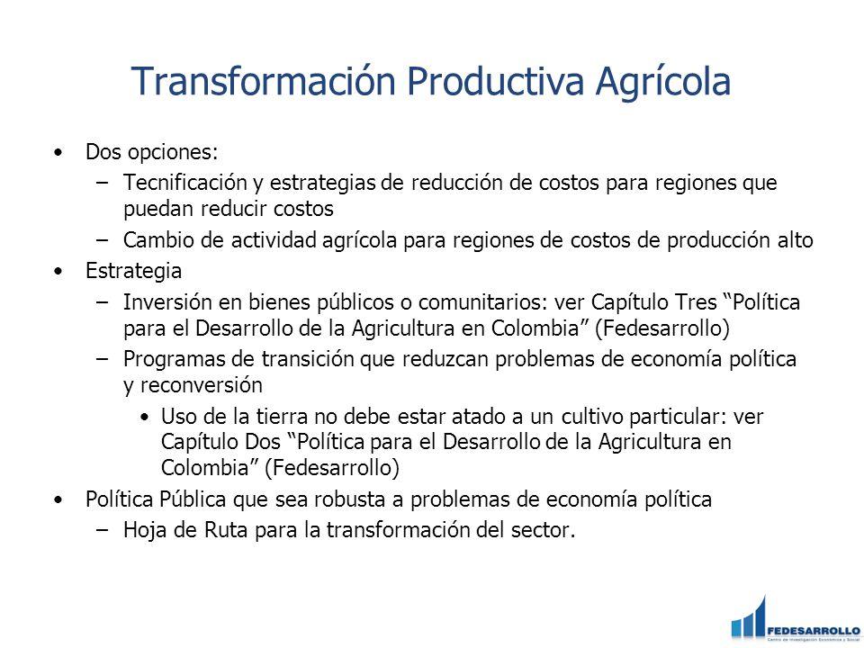 Transformación Productiva Agrícola Dos opciones: –Tecnificación y estrategias de reducción de costos para regiones que puedan reducir costos –Cambio d