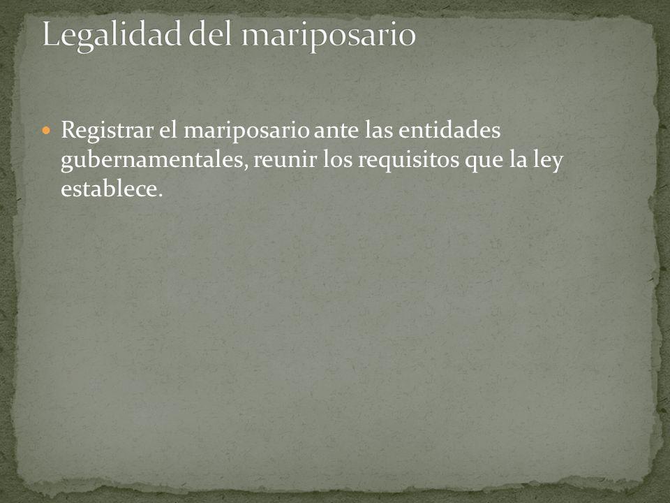 Registrar el mariposario ante las entidades gubernamentales, reunir los requisitos que la ley establece.